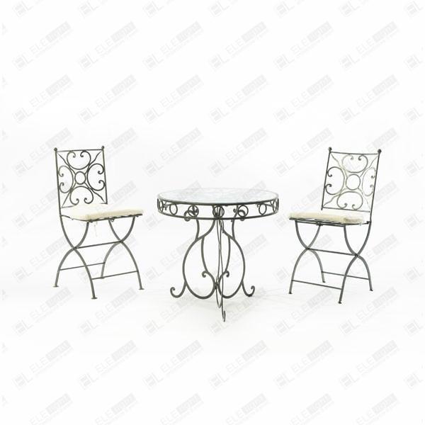 Tavolo In Ferro Battuto E Vetro.Deco Round Table Wrought Iron With Glass Top Ele Light