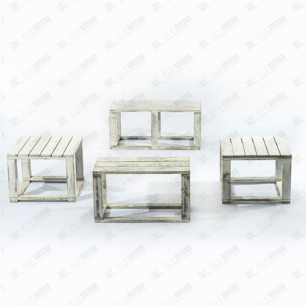 Tavolo Legno Bianco Decapato.Set Modulare Vintage Shabby Panca Con Due Pouf E Tavolino Ele Light