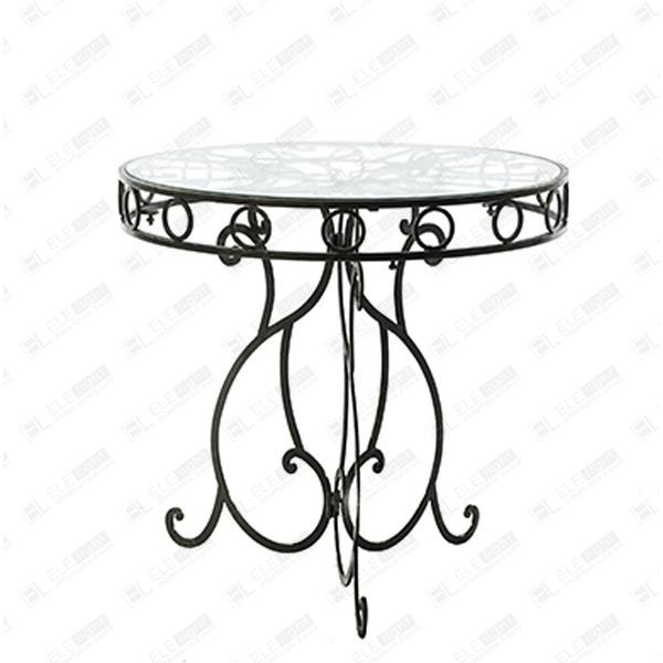 Tavolo Vetro Ferro Battuto.Deco Round Table Wrought Iron With Glass Top Ele Light