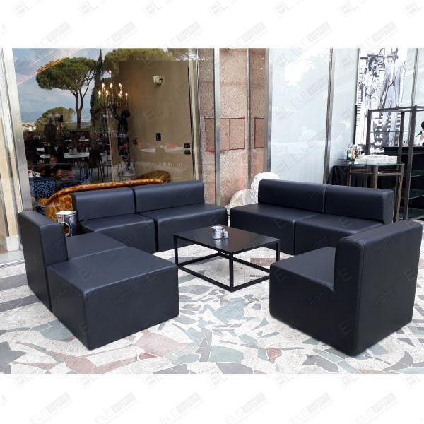 HOUSTON-NERO divano+ poltrona + RAMBLA NERO 100X70