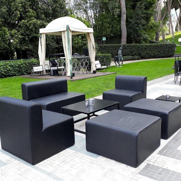 HOUSTON NERO divano + poltrona + pouf 80 + RAMBLA NERO 100X70