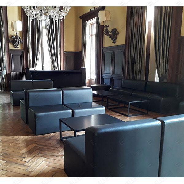 HOUSTON poltrona nera con RAMBLA tavolo-100x70