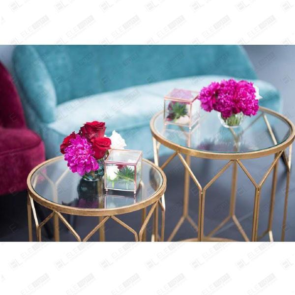 Tavolino paris con top in vetro e struttura color oro