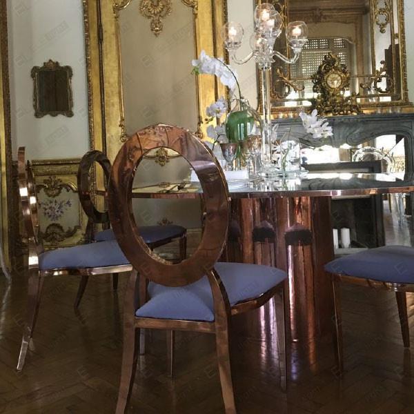 DAYLIGHT tavolo 185 cm SPECCHIATO-ORO-RAME + PRINCESS-sedia