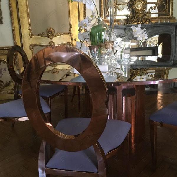 DAYLIGHT tavolo 185 cm SPECCHIATO ORO RAME + PRINCESS sedia