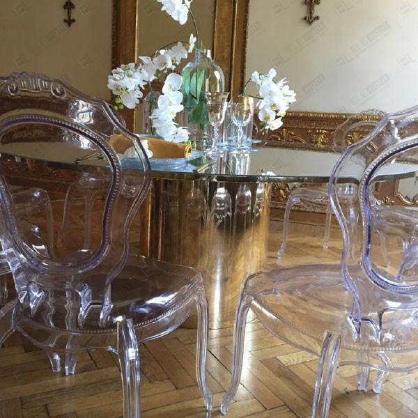 DAYLIGHT tavolo 185 cm SPECCHIATO con cilindro specchiato + LORD sedia