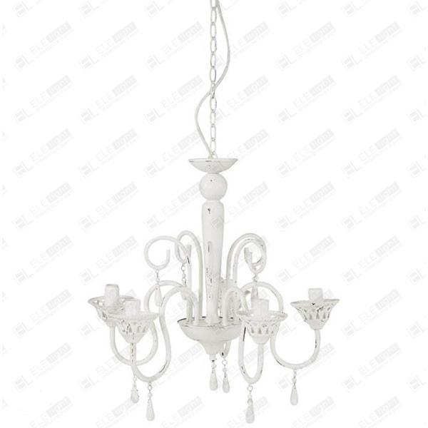 lampadario in ferro bianco decape con 5 bracci Assen